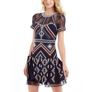 Parker navy embroidered Ellie lace dress